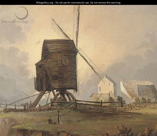 Figures before a coastal windmill - Norwegian School