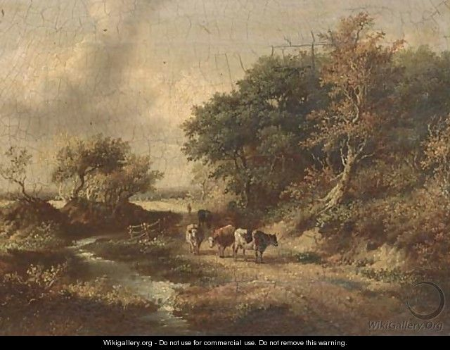 Cattle on a wooded track - Norwegian School