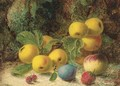 Apples, a peach, a plum and a strawberry, on a mossy bank - Oliver Clare