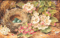 Apple Blossom, Primulas, a Bird's Nest with Eggs, on a mossy Bank - Oliver Clare