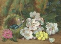 Apple blossom, primroses and a bird's nest with eggs, on a mossy bank - Oliver Clare