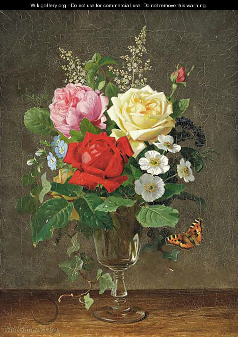 A vase of roses with a butterfly - Olaf August Hermansen