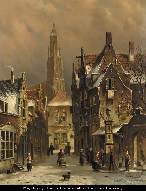 Numerous townsfolk in a city in winter - Oene Romkes De Jongh