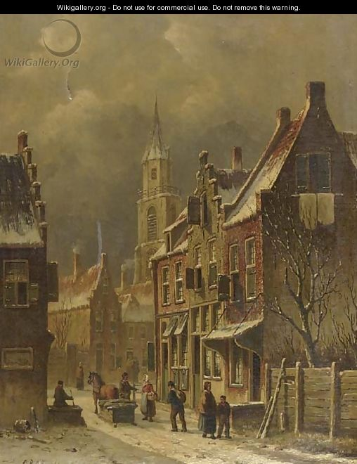 A townview in winter with figures conversing - Oene Romkes De Jongh