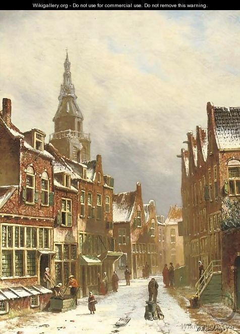 A snow covered street - Oene Romkes De Jongh