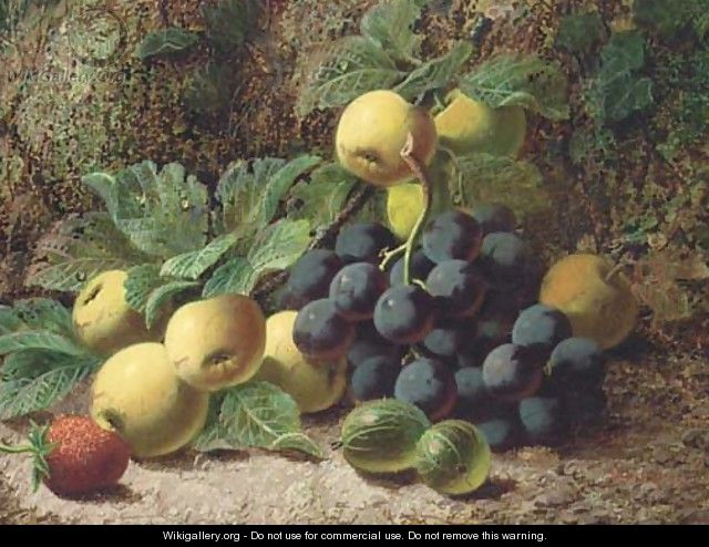 Still life of grapes, apples, gooseberries and a strawberry - Oliver Clare