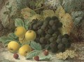 Raspberries, gooseberries, plums and grapes on a mossy bank - Oliver Clare
