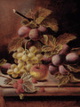 Plums, raspberries, grapes, and an apple on a ledge - Oliver Clare