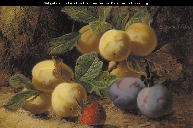 Plums and a strawberry on a mossy bank - Oliver Clare