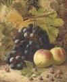 Peaches, grapes and raspberries on a mossy bank - Oliver Clare