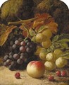 Greengages, grapes, raspberries and a peach, on a mossy bank - Oliver Clare