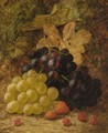 Grapes, raspberries, and strawberries, on a mossy bank - Oliver Clare