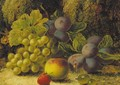 Grapes, plums, gooseberries, a peach, and a strawberry on a mossy bank - Oliver Clare