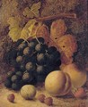 Grapes, peaches, raspberries, a greengage and a strawberry, on a mossy bank - Oliver Clare