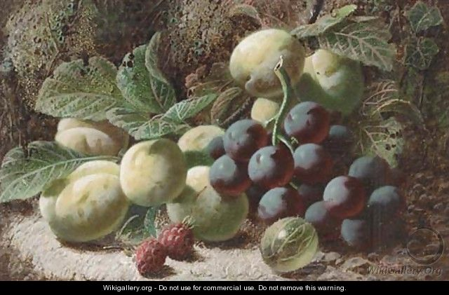 Grapes, greengages, raspberries, and a gooseberry, on a mossy bank - Oliver Clare