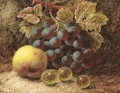 Grapes, gooseberries, and an apple, on a mossy bank - Oliver Clare