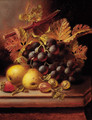 Grapes, apples, gooseberries, and a strawberry on a ledge - Oliver Clare