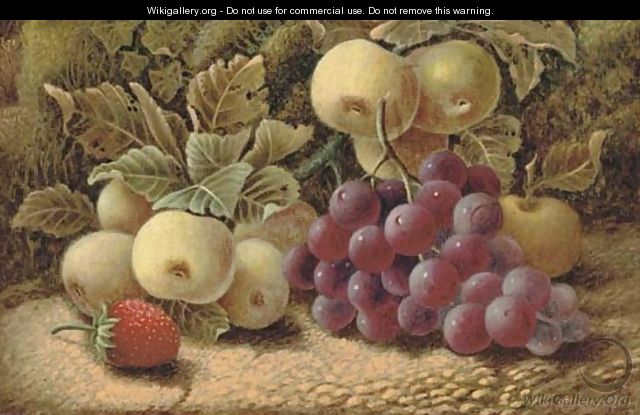 Apples, grapes and a strawberry, on a mossy bank - Oliver Clare