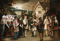 A wedding procession through a town - Nicolas Baullery