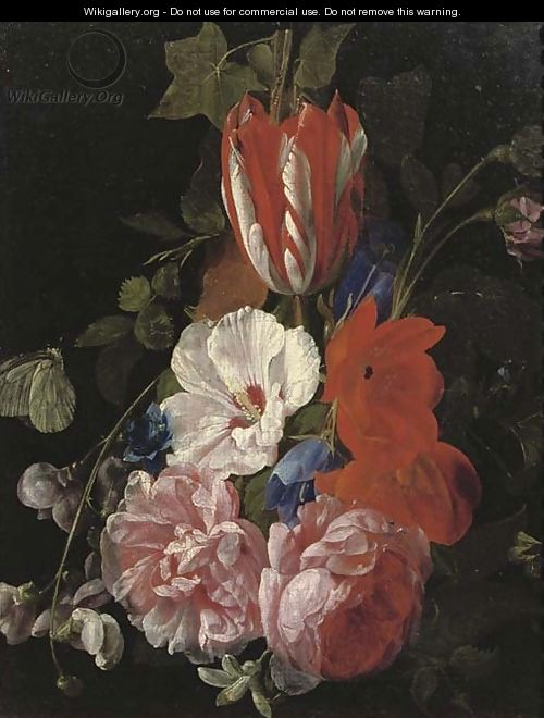 Roses, tulips, poppies and other flowers with butterflies a fragment - Nicholaes van Verendael