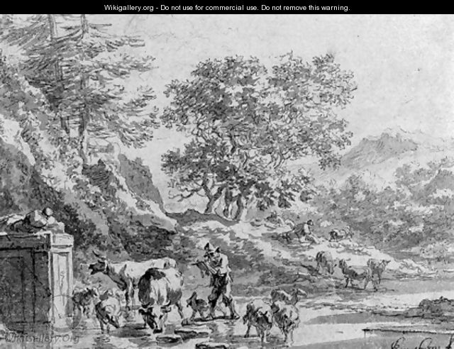 An italianate landscape with herdsman at the fountain - Nicolaes Berchem
