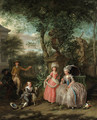 A group portrait of a family in an ornamental garden - Nicolaas or Nicolaes Muys