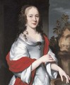 Portrait of lady, three-quarter-length, in a satin dress with a red shawl, by a fountain - Nicolaes Maes