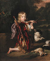 Portrait of a youth, small full-length kneeling, in classical style costume, drawing a bow, a dead rabbit beside him, with a spaniel - Nicolaes Maes
