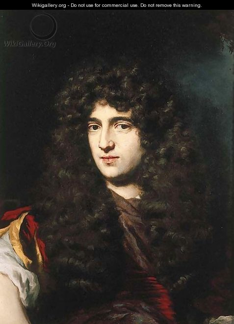 Portrait of a young man, small bust-length, in classical costume and a wig, in a landscape - Nicolaes Maes