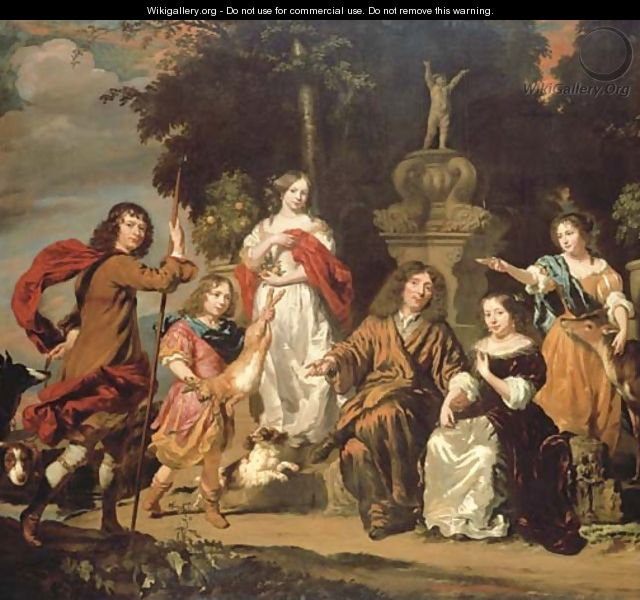 Group portrait of a family in an Italianate garden with an ornate fountain - Nicolaes Maes