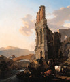 An Italianate river landscape with herdsmen by the ruins of an amphitheatre, and peasants crossing a bridge - Nicolaes Berchem