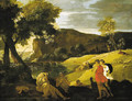 An Arcadian landscape with stories from the legends of Pan and Bacchus - Nicolas Poussin