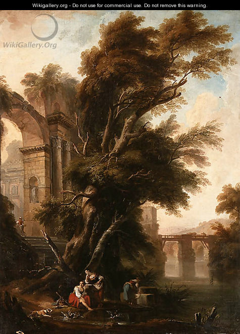 A Classical Landscape with Washerwomen beside Ruins on a Riverbank, a Bridge beyond - Nicolas Lavreince