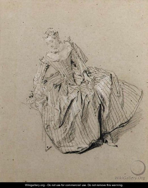 A seated woman, looking down to the left - Nicolas Lancret