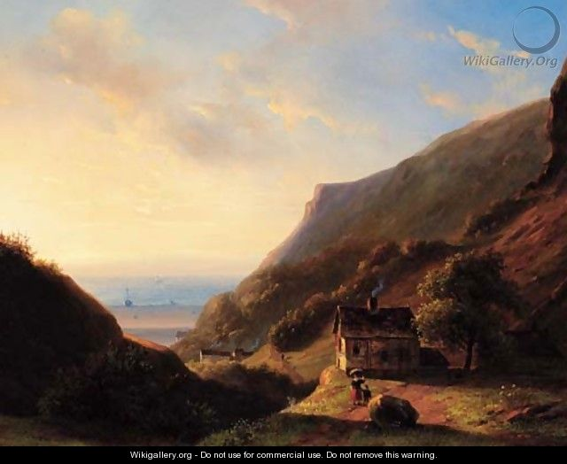 A coastal landscape at sunset - Nicholas Jan Roosenboom