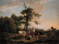 A cowherd and a shepherdess on a riverbank, in a Italianate landscape - Nicolas Henri Joseph De Fassin
