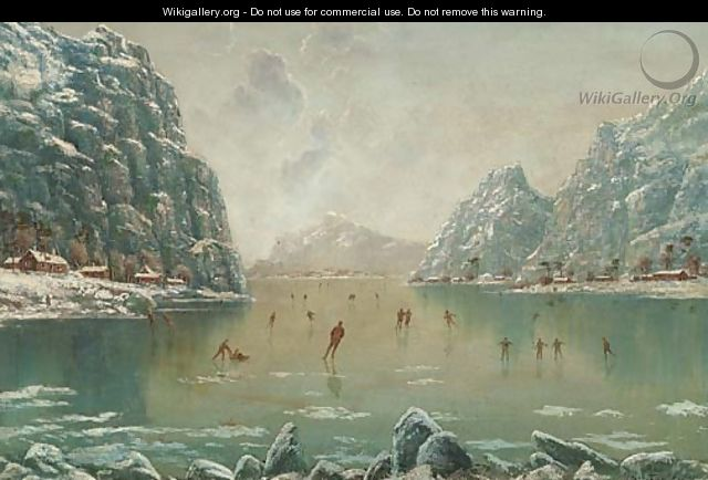Figures skating on a frozen fjord - Nils Hans Christiansen