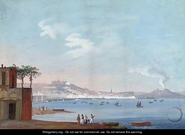 On the waterfront at Naples (one illustrated) - Neapolitan School