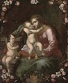The Madonna and Child with the Infant Saint John the Baptist surrounded by a floral cartouche - Neapolitan School