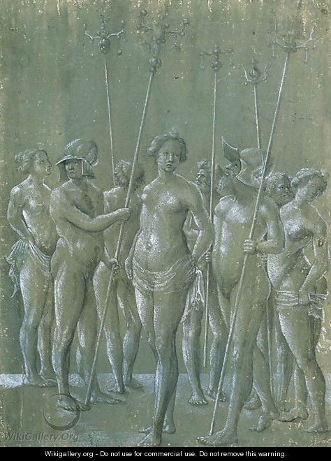 Five nude soldiers holding poles, two wearing a helmet, and three nude women - Netherlandish School