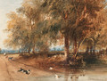 A woodland scene with a dog chasing ducks - Newton Fielding