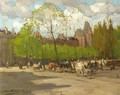 A view of the Rijksmuseum, Amsterdam, with horse-drawn carriages on the Stadhouderskade - Nicolaas Van Der Waay