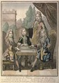The Grandchildren of Louis XIV (1638-1715) of France Playing Backgammon, Louis the Duke of Burgundy (d.1712) Philip, Duke of Anjou (1683-1746) and Charles, Duke of Berry, with their father, Louis, Dauphin of France (d.1711) - Nicolas Bonnart