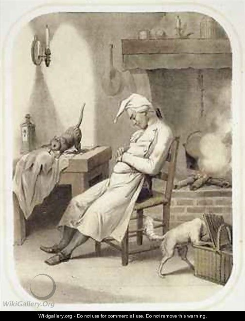 Sloth in the Kitchen - (after) Louis Leopold Boilly