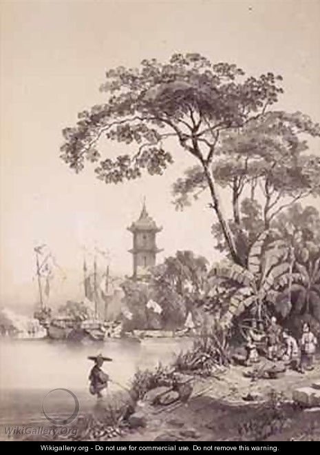 A Pagoda on the Macao-Canton Canal - (after) Borget, Auguste
