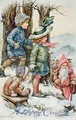 Father Christmas and Children in Snow - A.L. Bowley