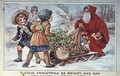 Children and Father Christmas with a Sleigh - A.L. Bowley
