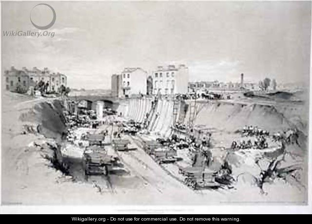 Building the retaining walls at Park Street, Camden Town 2 - John Cooke Bourne