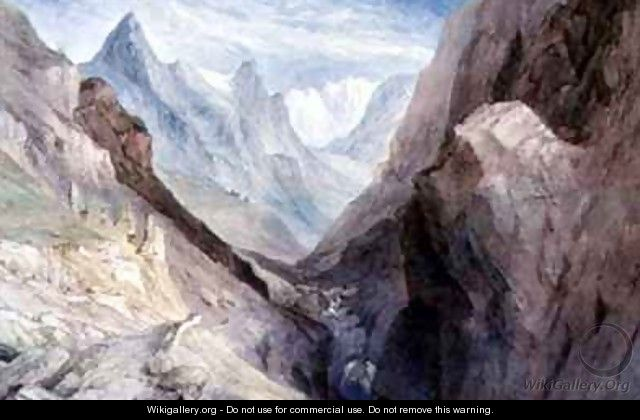 A view of Monte Viso and the Source of the River Po - William Brockedon