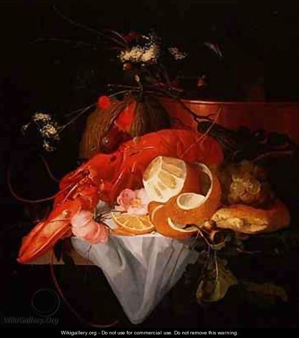 A Still Life with Lobster, Lemon and Grapes - Elias van den Broeck